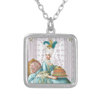 Marie Antoinette Let the eat Cake Square Pendant Necklace