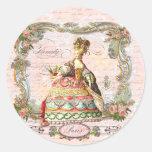Marie Antoinette Paris Pink Roses Round Sticker