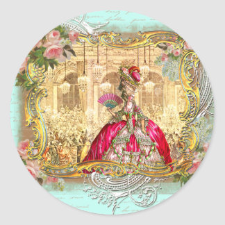 Marie Antoinette Party at Versailles French Style Round Sticker