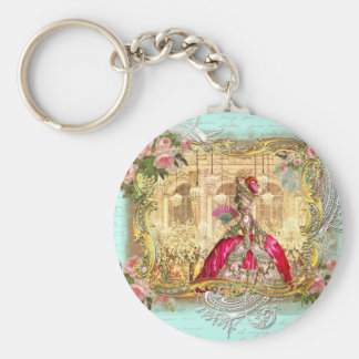Marie Antoinette Party at Versailles in Aqua Basic Round Button Key Ring