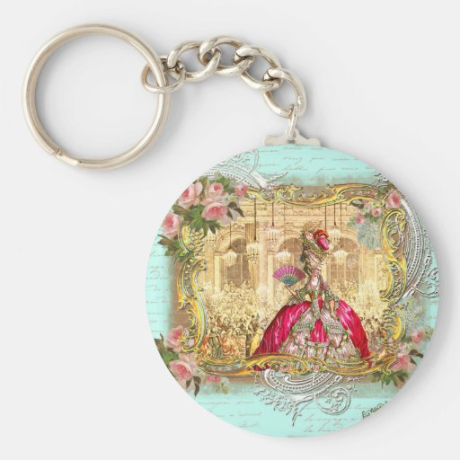 Marie Antoinette Party at Versailles in Aqua Keychain