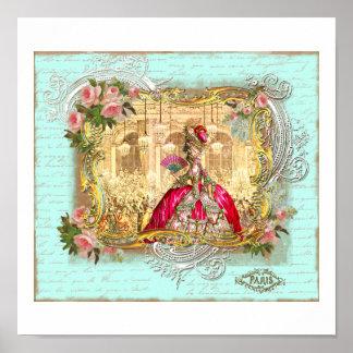 Marie Antoinette Party at Versailles in Aqua Print