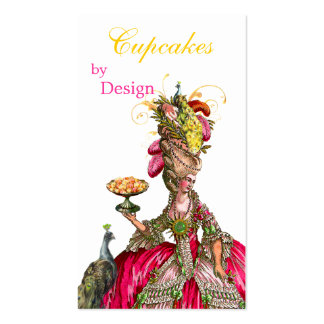 Marie Antoinette peacock and cake Business Card Templates