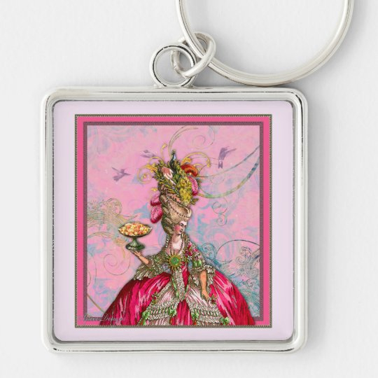 Marie Antoinette Peacocks and Cakes Silver-Colored Square Key Ring