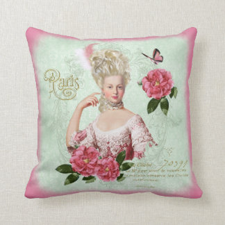 Marie Antoinette Pink Damask Peony Pillow cushion Throw Pillow