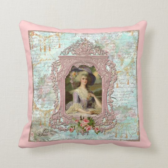 Marie Antoinette Pink Roses Cushion