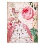 Marie Antoinette Pink Vintage Roses Postcard
