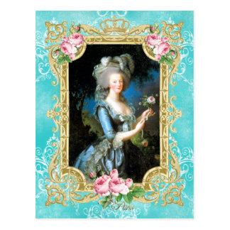 Marie Antoinette Portrait Blue Damask Postcard