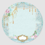 Marie Antoinette Roses and Lace Stationery/Cards Classic Round Sticker