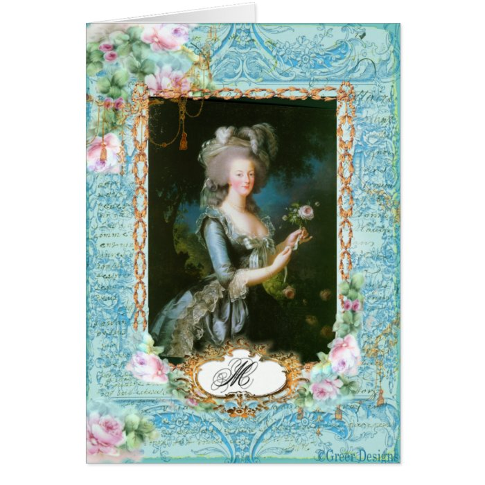 Marie Antoinette with Pink Roses and Lace Greeting Card