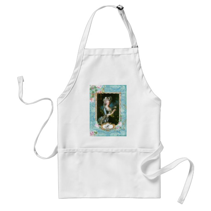 Marie Antoinette with Pink Roses and Lace Standard Apron