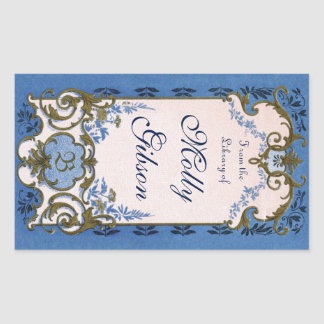 Marie Antoinette's Blue Bookplate Rectangular Sticker