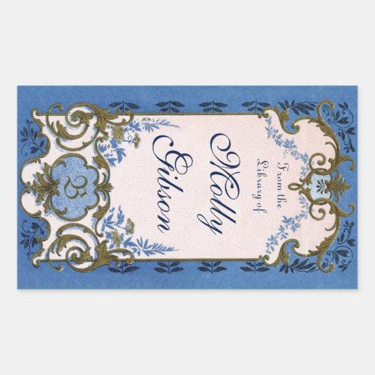 Marie Antoinette's Blue Bookplate Rectangular Sticker