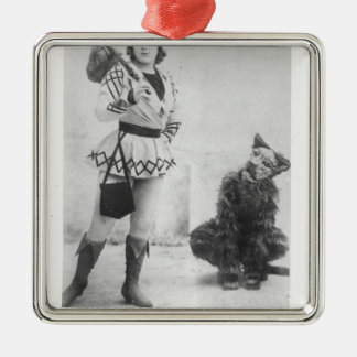 Marie Lloyd  as Dick Whittington in 1898 Silver-Colored Square Decoration