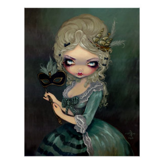 Marie Masquerade lowbrow gothic Rococo Art Print