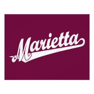 Marietta script logo in white distressed 21.5 cm x 28 cm flyer