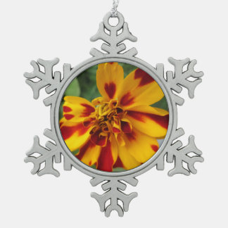 Marigold Bicolor Yellow Red Snowflake Pewter Christmas Ornament