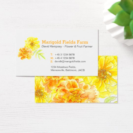 Marigold farmer / flower grower business cards