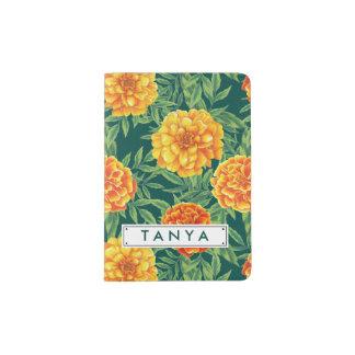 Marigold Flower Pattern Passport Holder