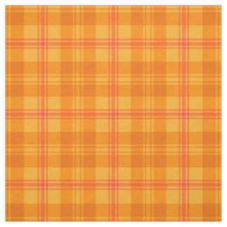 Marigold Orange, Red and Yellow Plaid Pattern Fabric