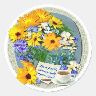 MARIGOLD POSY ~ Friendship Plate Classic Round Sticker