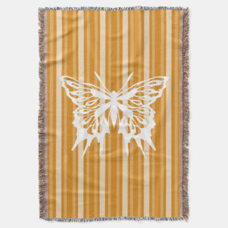 Marigold Victorian Stripe with Butterfly Throw Blanket