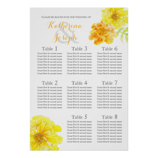 Marigold yellow Wedding Seating Table Planner 1-8 Poster