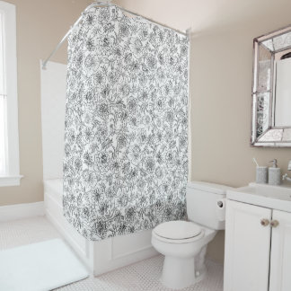Marigolds black on white shower curtain