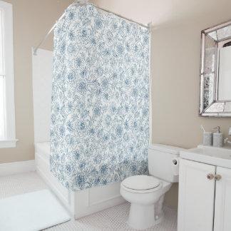 Marigolds blue on white shower curtain