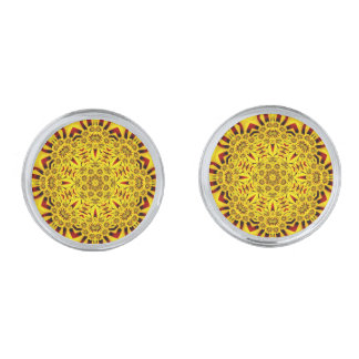 Marigolds Colorful Cufflinks, 4 shapes Silver Finish Cuff Links
