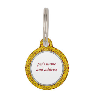 Marigolds Colorful Yellow Red Pet Tags