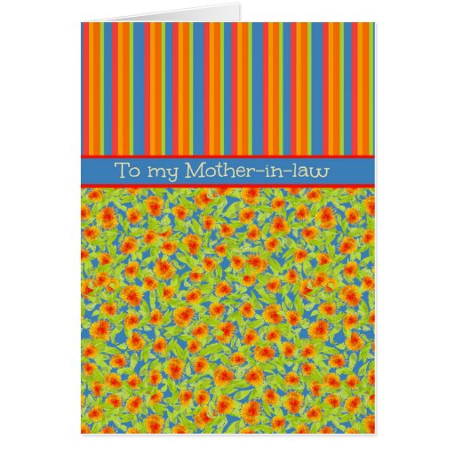 Marigolds, Stripes October Birthday Mother-in-law Greeting Card