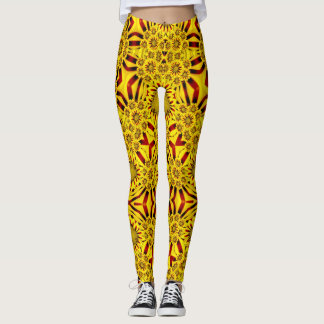 Marigolds Vintage Kaleidoscope Yellow Red Leggings