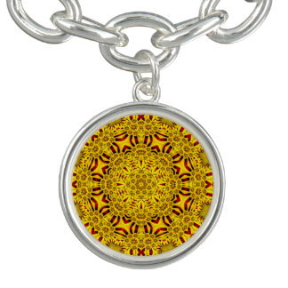 Marigolds Vintage Pattern  Charm Bracelet