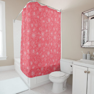 Marigolds white on red shower curtain