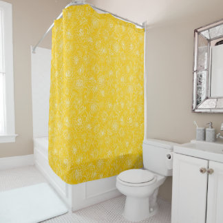 Marigolds white on yellow shower curtain