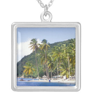 Marigot Bay, St. Lucia, Caribbean Silver Plated Necklace