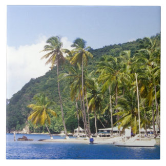 Marigot Bay, St. Lucia, Caribbean Large Square Tile