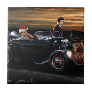 Marilyn and Elvis Christmas Joy Ride Small Square Tile