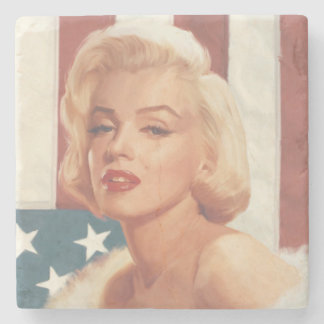 Marilyn Flag Stone Beverage Coaster