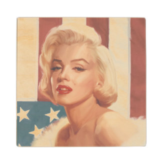 Marilyn Flag Wood Coaster