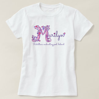 Marilyn girls M name meaning monogram tee