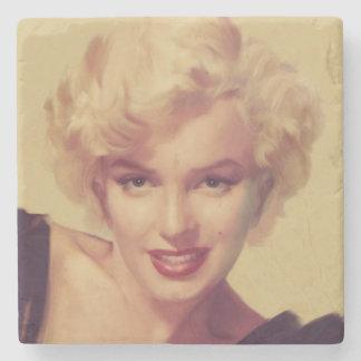 Marilyn in Black Stone Beverage Coaster