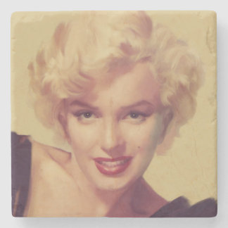 Marilyn in Black Stone Coaster