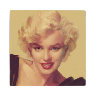Marilyn in Black Wood Coaster