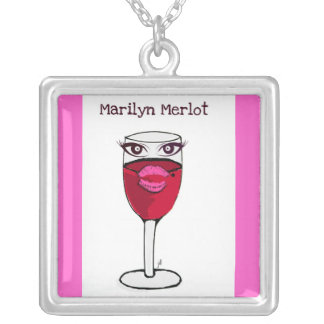 """""""MARILYN MERLOT"""" RED WINE PRINT SQUARE PENDANT NECKLACE"""