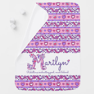 Marilyn personalized M name meaning baby blanket