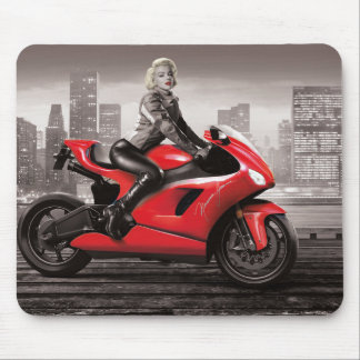 Marilyn's Motorcycle Mouse Mat