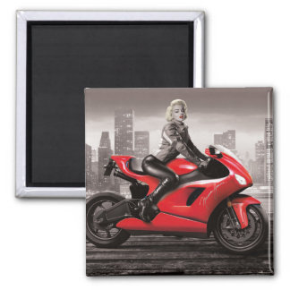 Marilyn's Motorcycle Square Magnet