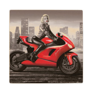 Marilyn's Motorcycle Wood Coaster